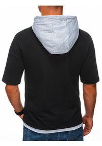 Ombre Clothing - Bluza męska z krótkim rękawem B1221 - czarna/szara melanż - XXL. Okazja: na co dzień. Kolor: szary. Materiał: elastan, bawełna. Długość rękawa: krótki rękaw. Długość: krótkie. Wzór: melanż. Styl: sportowy, casual, klasyczny