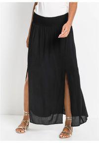 Długa spódnica z rozporkami bonprix czarny. Kolor: czarny. Długość: długie #5