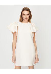 Beżowa sukienka mini VALENTINO na wesele, z krótkim rękawem