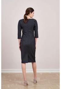 Marie Zélie - Sukienka Milena wełna szary melanż z jedwabiem. Kolor: szary. Materiał: wełna, jedwab. Wzór: melanż. Typ sukienki: proste