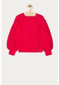 Różowa bluzka Guess gładkie, casualowa