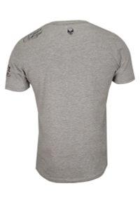 Brave Soul - Szary T-Shirt (Koszulka) z Nadrukiem -BRAVE SOUL- Męski, Okrągły Dekolt, Brodacz, Barber, Hipster. Okazja: na co dzień. Kolor: szary. Materiał: bawełna, wiskoza. Wzór: nadruk. Styl: casual