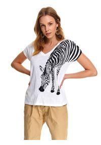 Biały t-shirt TOP SECRET z krótkim rękawem, z dekoltem w serek