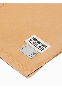 Ombre Clothing - T-shirt męski bawełniany S1379 - musztardowy - XXL. Kolor: żółty. Materiał: bawełna. Długość: krótkie. Wzór: geometria