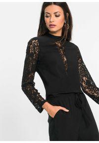 Czarny kombinezon bonprix w koronkowe wzory, elegancki