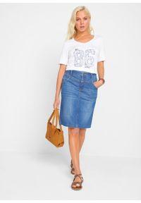 Spódnica dżinsowa ze stretchem bonprix niebieski. Kolor: niebieski