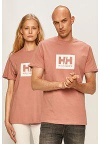 Różowa bluzka Helly Hansen na co dzień, casualowa, z nadrukiem