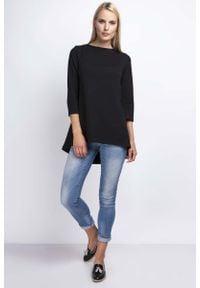 Nommo - Czarna Luźna Asymetryczna Bluzka z Rękawami 3/4. Kolor: czarny. Materiał: bawełna