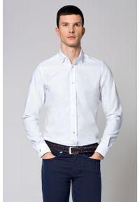 Biała koszula Lancerto z klasycznym kołnierzykiem, klasyczna, z haftami