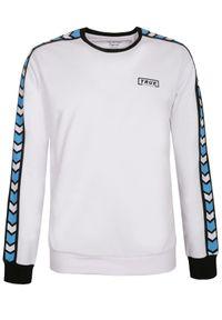 TOP SECRET - Bluza z lampasami. Okazja: na co dzień. Kolor: biały. Materiał: bawełna. Wzór: kolorowy. Sezon: jesień, zima. Styl: casual