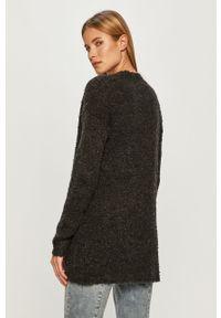 Szary sweter rozpinany Jacqueline de Yong długi, z długim rękawem, na co dzień, casualowy