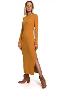 MOE - Dopasowana sukienka maxi z prążkowanej dzianiny. Materiał: dzianina, prążkowany. Długość rękawa: długi rękaw. Długość: maxi