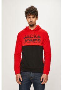Czerwona bluza nierozpinana Jack & Jones z nadrukiem, z kapturem, na co dzień, casualowa