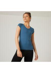 NYAMBA - Koszulka krótki rękaw fitness. Typ kołnierza: dekolt w serek. Kolor: turkusowy. Materiał: poliester, elastan, bawełna, materiał. Długość rękawa: krótki rękaw. Długość: krótkie. Sport: fitness