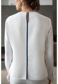 Biała bluzka VEVA z kokardą, z długim rękawem, długa