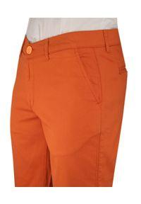 Pomarańczowe spodnie Rigon w kolorowe wzory, na lato, krótkie