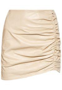 LaMarque Spódnica skórzana Aricia Beżowy Slim Fit. Kolor: beżowy. Materiał: skóra
