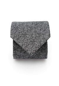 Adam Collection - Krawat męski - szary melanż D304. Kolor: szary. Materiał: tkanina, mikrofibra. Wzór: melanż