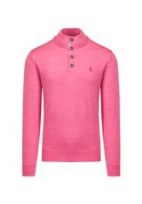 Polo Golf Ralph Lauren - Sweter wełniany POLO GOLF RALPH LAUREN. Typ kołnierza: golf, polo. Kolor: różowy. Materiał: wełna