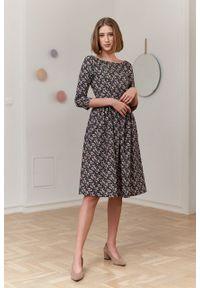 Marie Zélie - Sukienka Melania Riccia. Materiał: bawełna, skóra, materiał. Długość rękawa: krótki rękaw