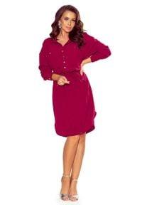 Numoco - Bordowa Sukienka o Koszulowym Kroju Szmizjerka. Kolor: czerwony. Materiał: poliester, elastan. Typ sukienki: szmizjerki, koszulowe