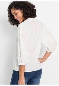 Bluzka z kołnierzykiem z koronki bonprix biel wełny. Kolor: biały. Materiał: wełna, koronka. Wzór: koronka