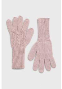 Answear Lab - Rękawiczki z domieszką wełny. Kolor: różowy. Materiał: wełna. Wzór: melanż. Styl: wakacyjny