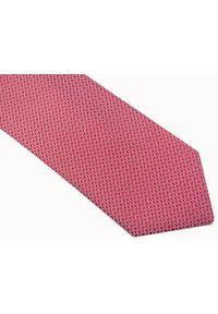 Modini - Czerwony krawat męski w drobne kwadraty D40. Kolor: czerwony. Materiał: tkanina, mikrofibra