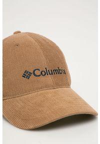 Brązowa czapka z daszkiem columbia z aplikacjami