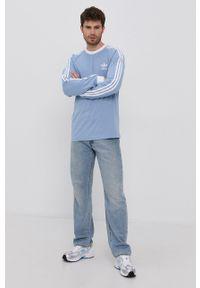 adidas Originals - Longsleeve. Okazja: na co dzień. Kolor: niebieski. Materiał: bawełna. Długość rękawa: długi rękaw. Styl: casual