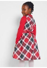 Czerwona sukienka bonprix z kokardą, z nadrukiem, bez rękawów