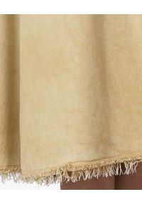 GOLDEN GOOSE - Beżowa spódnica midi Adele. Okazja: na co dzień. Kolor: beżowy. Materiał: bawełna, moher, zamsz. Styl: sportowy, casual