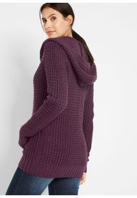 Fioletowy sweter bonprix z kapturem