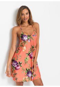 Sukienka w kwiaty bonprix pomarańczowy w kwiaty. Kolor: pomarańczowy. Długość rękawa: na ramiączkach. Wzór: kwiaty. Sezon: lato