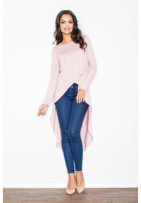 Figl - Różowa Asymetryczna Modna Tunika z Długim Rękawem. Kolor: różowy. Materiał: wiskoza, elastan. Długość rękawa: długi rękaw. Typ sukienki: asymetryczne