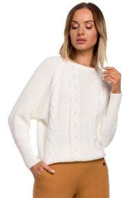 MOE - Sweter w Warkocze ze Ściągaczami - Ecru. Materiał: poliamid, akryl