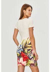 Biała sukienka Desigual casualowa, mini, na co dzień, w kwiaty
