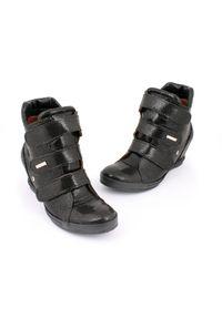 Czarne botki Zapato casualowe, na średnim obcasie, na koturnie