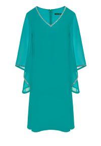 Zielona sukienka Vito Vergelis wizytowa, na wesele, z aplikacjami