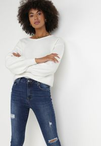 Born2be - Granatowe Jeansy Skinny Chionena. Stan: podwyższony. Kolor: niebieski. Styl: sportowy, elegancki