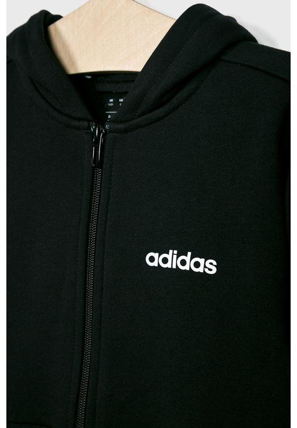 Czarna bluza rozpinana Adidas z nadrukiem, casualowa