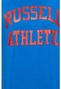 Niebieski t-shirt Russell Athletic na co dzień, z nadrukiem