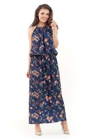 Niebieska sukienka na imprezę Lou-Lou maxi, w kwiaty, na lato