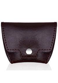 Skórzana bilonówka, portfel na monety bordowy Solier SA10. Kolor: czerwony. Materiał: skóra