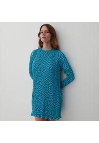 Reserved - Plisowana sukienka midi - Turkusowy. Kolor: turkusowy. Długość: midi