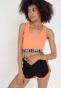 Born2be - Pomarańczowy 2-Częściowy Komplet Sportowy Xisixis. Kolor: pomarańczowy. Wzór: napisy, aplikacja