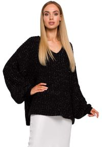 Czarny sweter oversize MOE z dekoltem w serek