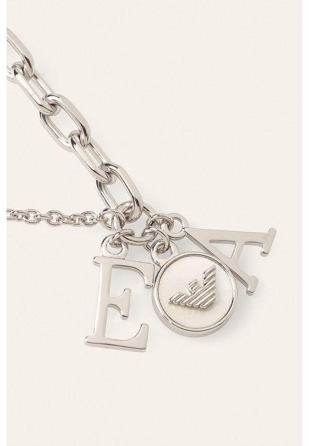 Srebrna bransoletka Emporio Armani ze stali, z aplikacjami