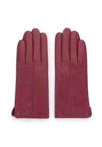 Wittchen - Damskie rękawiczki skórzane z rzemieniem. Kolor: czerwony. Materiał: skóra. Sezon: zima. Styl: klasyczny, elegancki