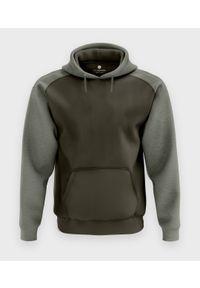MegaKoszulki - Męska bluza dwukolorowa premium (bez nadruku, gładka) - oliwkowa. Kolor: oliwkowy. Materiał: bawełna. Wzór: gładki